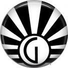 Art Deco Sunburst Alphabet Letter G, 1 Inch Button Badge Pin