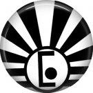 Art Deco Sunburst Alphabet Letter E, 1 Inch Button Badge Pin