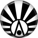 Art Deco Sunburst Alphabet Letter A, 1 Inch Button Badge Pin