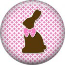 Bunny Love with Pink Bow Easter 1 Inch Button Badge Pin Pinback Button - 2050