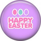 Happy Easter on Purple Background 1 Inch Button Badge Pin Pinback Button - 2056