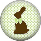Easter Bunny on Green Polka Dot Background 1 Inch Button Badge Pin Pinback Button - 2058