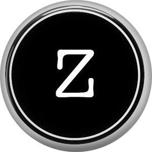 1 Inch Alphabet Letter Z Button Badge Pin Resembling Vintage Typewriter Keys