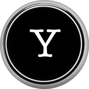 1 Inch Alphabet Letter Y Button Badge Pin Resembling Vintage Typewriter Keys