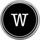 1 Inch Alphabet Letter W Button Badge Pin Resembling Vintage Typewriter Keys