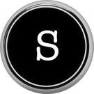 1 Inch Alphabet Letter S Button Badge Pin Resembling Vintage Typewriter Keys