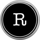 1 Inch Alphabet Letter R Button Badge Pin Resembling Vintage Typewriter Keys