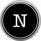 1 Inch Alphabet Letter N Button Badge Pin Resembling Vintage Typewriter Keys