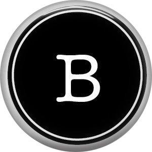 1 Inch Alphabet Letter B Button Badge Pin Resembling Vintage Typewriter Keys