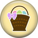 Basket of Easter Eggs on Yellow Background 1 Inch Button Badge Pin Pinback Button - 2067