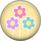 Spring Flowers on Yellow Background 1 Inch Button Badge Pin Pinback Button - 2071