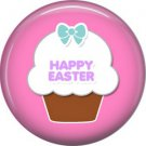 Happy Easter Cupcake on Pink Background 1 Inch Button Badge Pin Pinback Button - 2076