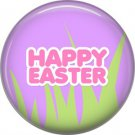 Happy Easter with Grass on Purple Background 1 Inch Button Badge Pin Pinback Button - 2078