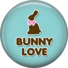 Bunny Love on Blue Background 1 Inch Button Badge Pin Pinback Button - 2082
