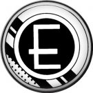 Stripes and Dots, 1 Inch Pinback Button Badge Art Deco Style Alphabet Letter E