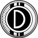 Stripes and Dots, 1 Inch Pinback Button Badge Art Deco Style Alphabet Letter D