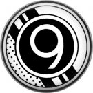 Stripes and Dots, 1 Inch Pinback Button Badge Art Deco Style Alphabet Number 9
