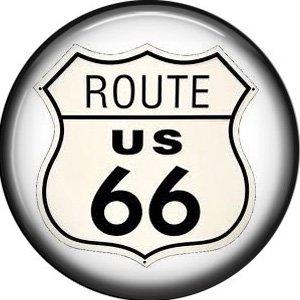 Route US 66 Shield, 1 Inch Americana Button Badge Pinback - 0411