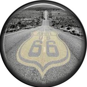 Route 66 Pavement, 1 Inch Americana Button Badge Pinback - 0412