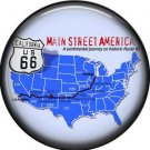 US Map of Route 66, 1 Inch Americana Button Badge Pinback - 0413