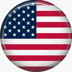 U.S.A. Flag, 1 Inch Patriotic Pinback Button Badge Pin - 0428