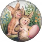 "1"" Inch Pinback Button Badge Vintage Easter Image of Babies in Bunny Bunting - 0131"