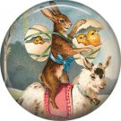 """1"""" Inch Pinback Button Badge Vintage Easter Image of Bunny Riding Goat - 0133"""