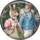 """1"""" Inch Pinback Button Badge Vintage Easter Image of Rabbit Couple Dressed Up - 0134"""
