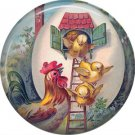 Chicks in Egg House, Vintage Easter Image on 1 Inch Pinback Button Badge Pin - 0135