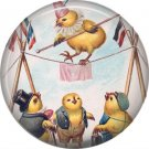 "1"" Inch Pinback Button Badge Vintage Easter Image of Chicks on the Tightrope - 0144"