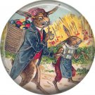 Rabbit with Basket of Eggs on Back, Vintage Easter Image on 1 Inch Button Badge Pin - 0146