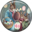 Rabbits with Eggs on Sticks, Vintage Easter Image on 1 Inch Button Badge Pin - 0147