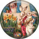 Rabbits Singing to Gnome, Vintage Easter Image on 1 Inch Button Badge Pin - 0148