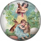 Children with Rabbits, Vintage Easter Image on 1 Inch Button Badge Pin - 0150