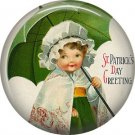 Irish Lassie with Umbrella Ephemera Lapel Pin, St. Patricks Day 1 Inch Pinback Button Badge  - 0431