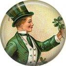 Irish Lad with Bouquet of Shamrocks, St. Patricks Day 1 Inch Pinback Button Badge  - 0432