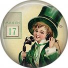 Laddie on Candlestick Telephone, 1 Inch Ephemera Lapel Pin, St. Patricks Day Button Badge  - 0439