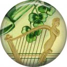 1 Inch Irish Clairsearch Harp Ephemera Lapel Pin, St. Patricks Day Button Badge  - 0446