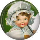 1 Inch Irish Lassie in Mob Cap Ephemera Lapel Pin, St. Patricks Day Button Badge  - 0454