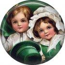 1 Inch Irish Children in Green Ephemera Lapel Pin, St. Patricks Day Button Badge  - 0457