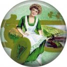 1 Inch Irish Lass Ephemera Lapel Pin, St. Patricks Day Button Badge  - 0458
