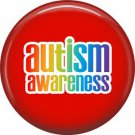 Autism Awareness on Red Background, 1 Inch Pinback Button Badge Pin - 0491