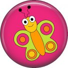 Butterfly on Red Background Spring Critters 1 inch Button Badge Pin - 0091