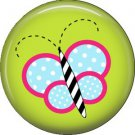 Butterfly on Green Background Spring Critters 1 inch Button Badge Pin - 0093
