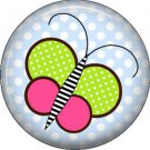 Green and Pink Butterfly Spring Critters 1 inch Button Badge Pin - 0095