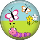 Caterpillar Butterflies and Flowers Spring Critters 1 inch Button Badge Pin - 0099