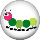 Green Caterpillar on White Background Spring Critters 1 inch Button Badge Pin - 0102