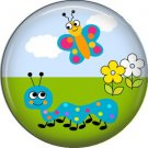 Blue Caterpillar with Butterfly Spring Critters 1 inch Button Badge Pin - 0103