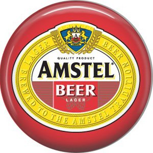 Amstel Beer Lager, 1 Inch Food and Drink Pinback Button Badge - 0396