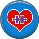 Heart with Missing Puzzle Piece on Blue, Autism Awareness 1 Inch Pinback Button Badge Pin - 0501
